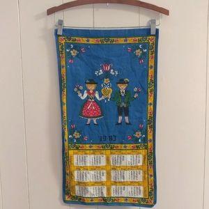 German Calender Tea Towel Boy Girl Graphic Textile